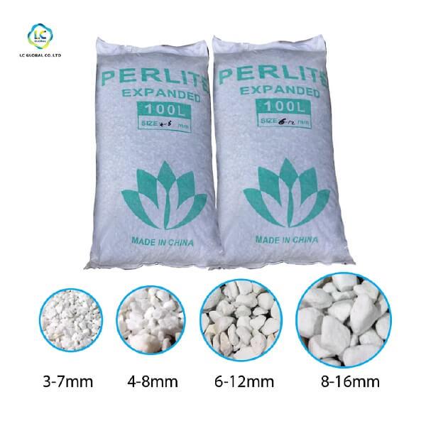 Đá trân châu Perlite gồm nhiều kích thước khác nhau